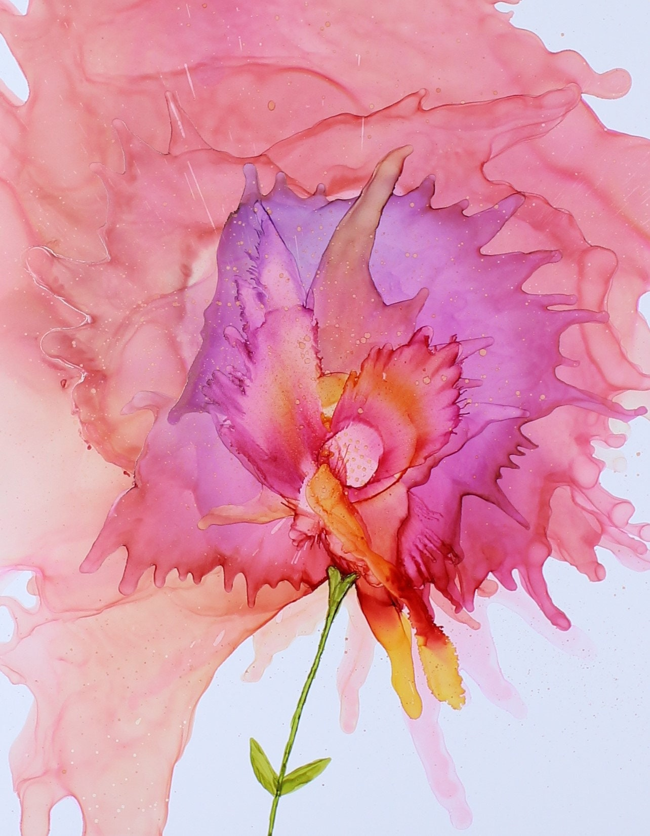 Pink Flower Abstract Alcohol Ink Art