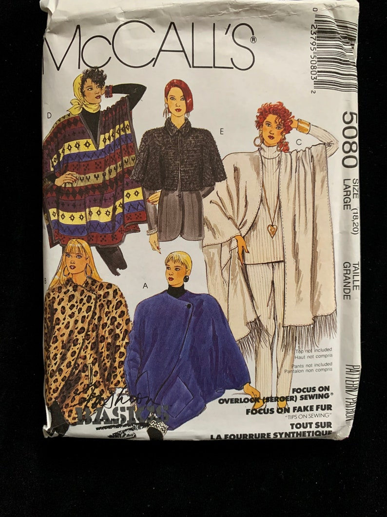 Bust 40-42 capelet and ponchos Sewing Pattern 18-20 Size Large UNCUT McCall/'s 5080 Misses Cocoon jacket