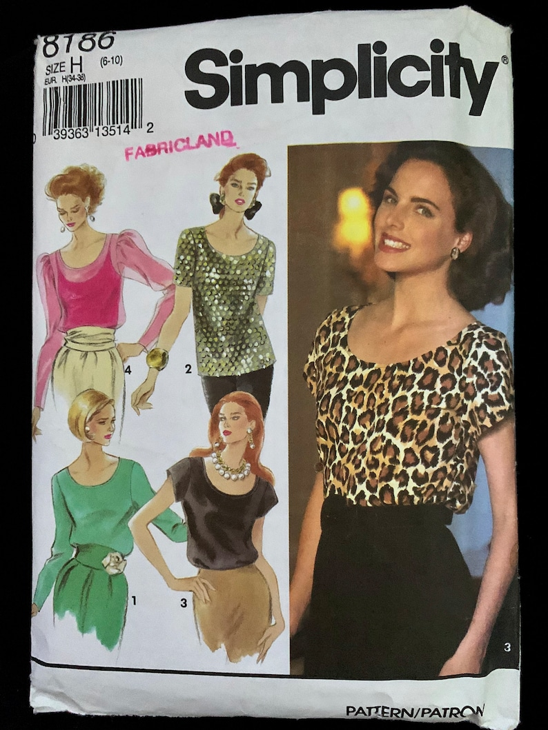 Complete Bust 30 12-32 12 Size 6-10 round neck sewing pattern Simplicity 8186 Misses tops short or long sleeve