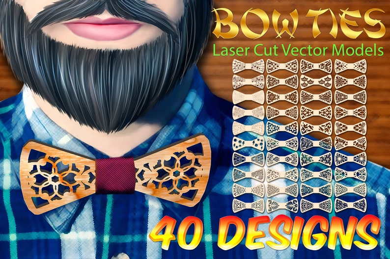 cnc plan Bow ties 40 designs vector model for laser cut DXF CDR ai svg dxf any thicknes instant download