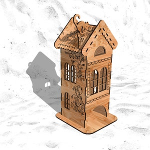 DXF CDR ai svg eps vector files for laser cut instant download TEA house mill vector model for laser cut cnc 3 and 4 mm