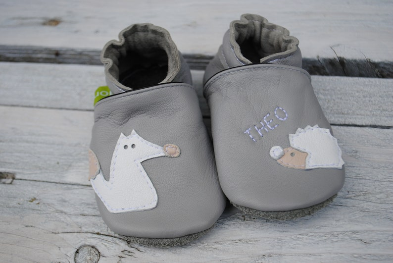4549830db4eaa Crawling Shoes fox-hedgehog with name, light grey-white