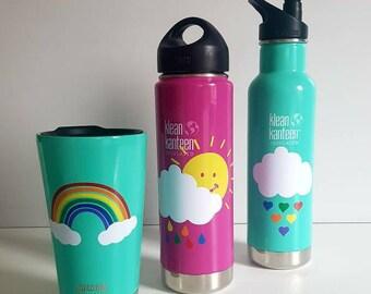 Vinyl sticker cloud rain drops X SMALL suit water bottle lunchbox klean kanteen