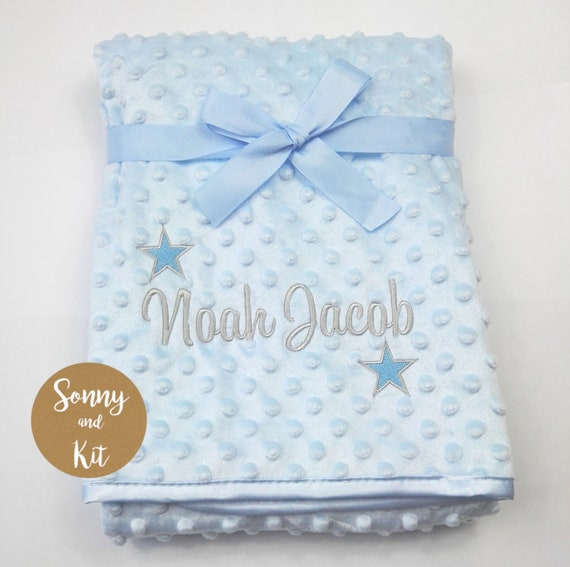 Monogrammed Baby Blankets Personalized Baby Blanket Baby Boy Personalized Gifts Blankets Super Soft Baby Gifts Light Blue Blue