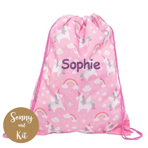 Personalised Light Pink Drawstring Bag Sack Gym PE Swim  School Print