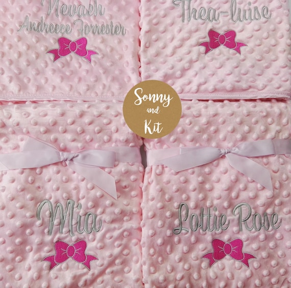 Fluffy /& Soft Luxury Embroidered Gift Star or Heart Personalised Baby Blanket