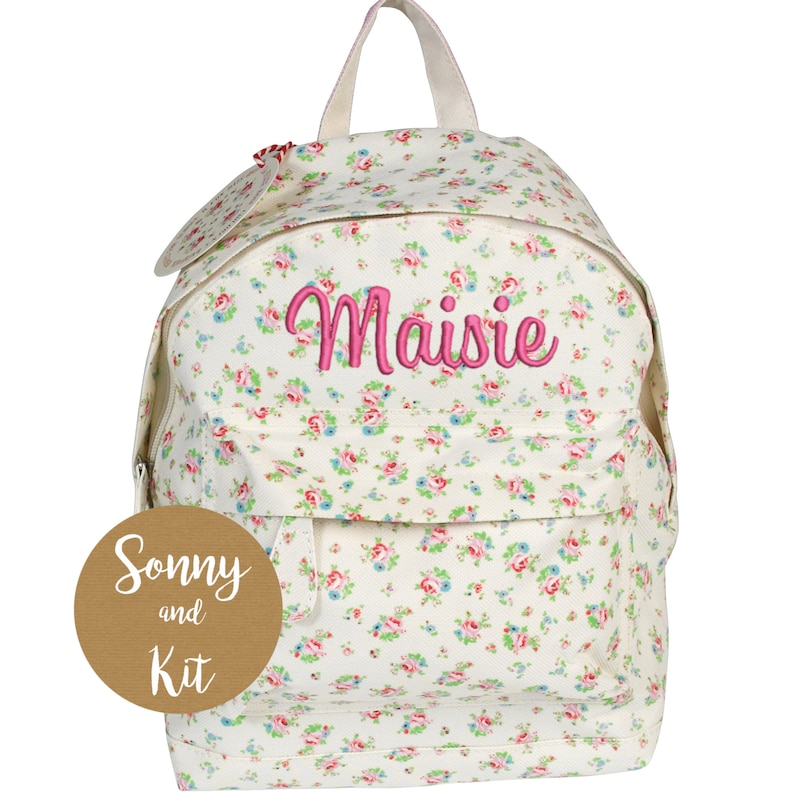 Personalised La Petite Rose Backpack Embroidered With Any Name