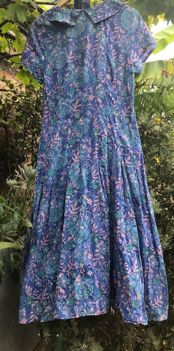 Vintage Anokhi Indian block print summer tea dress