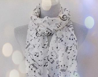 226a673ed5 Black and White Music Note Scarf