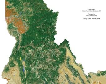 Idaho Landscape wall map