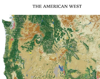 American West Landscape wall map