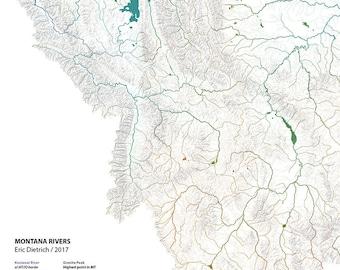 Montana Rivers wall map