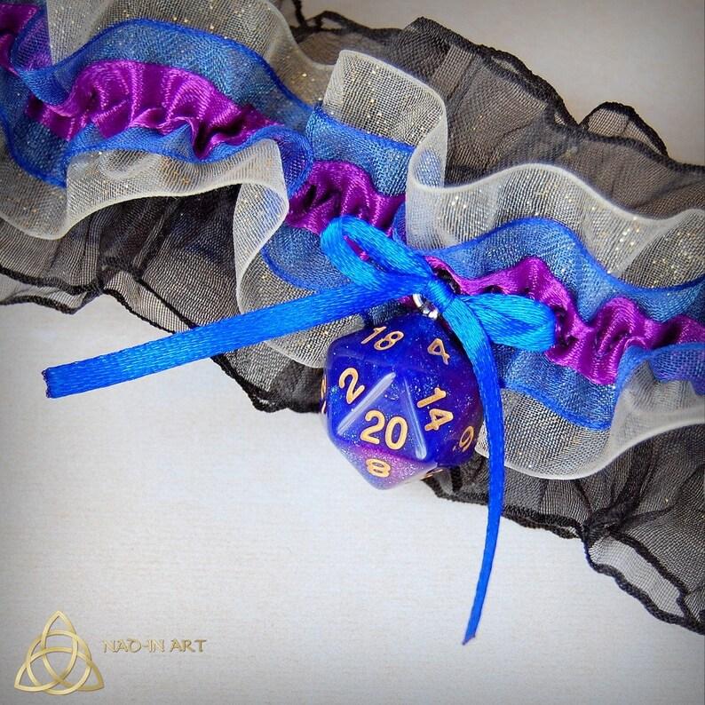 Galaxy D20 dice garter for gamer wedding