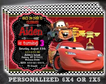 Cars Invitation Lightning McQueen Birthday