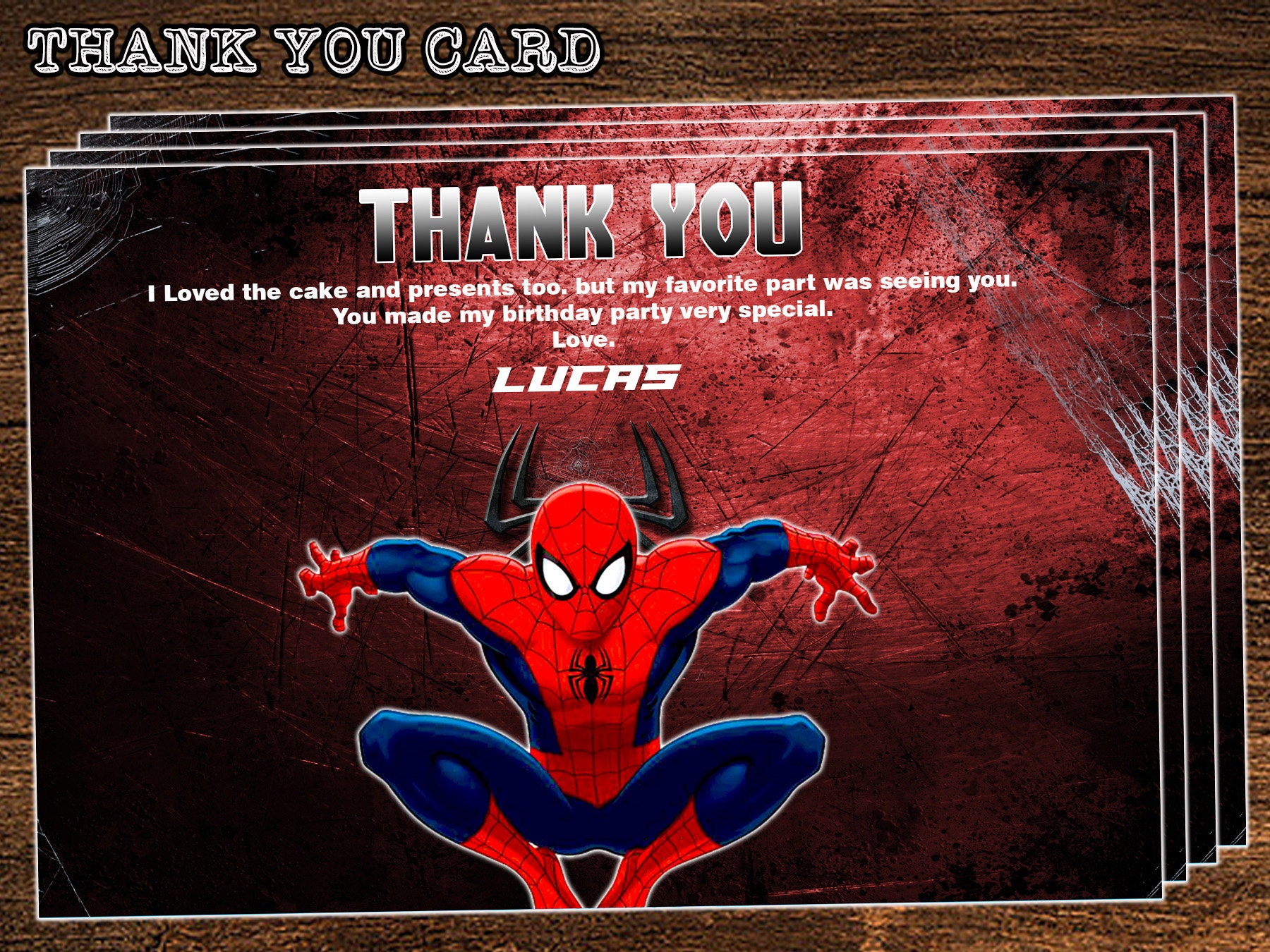 Spiderman Thank You Cards Spiderman Birthday Party Spiderman Etsy