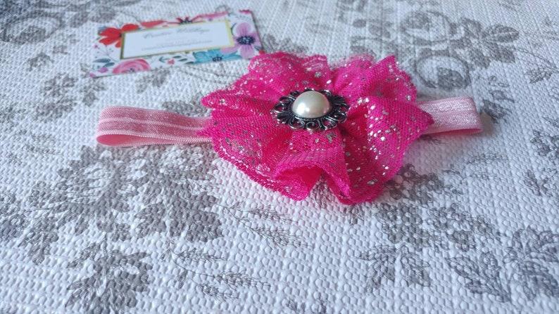 Bright Pink Sparkly Flower Infant Headband