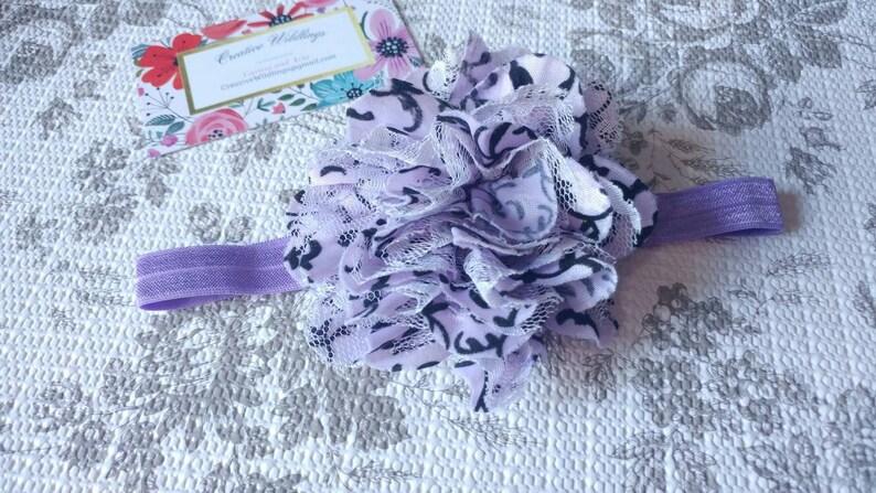 Purple And Black Infant Floral Headband