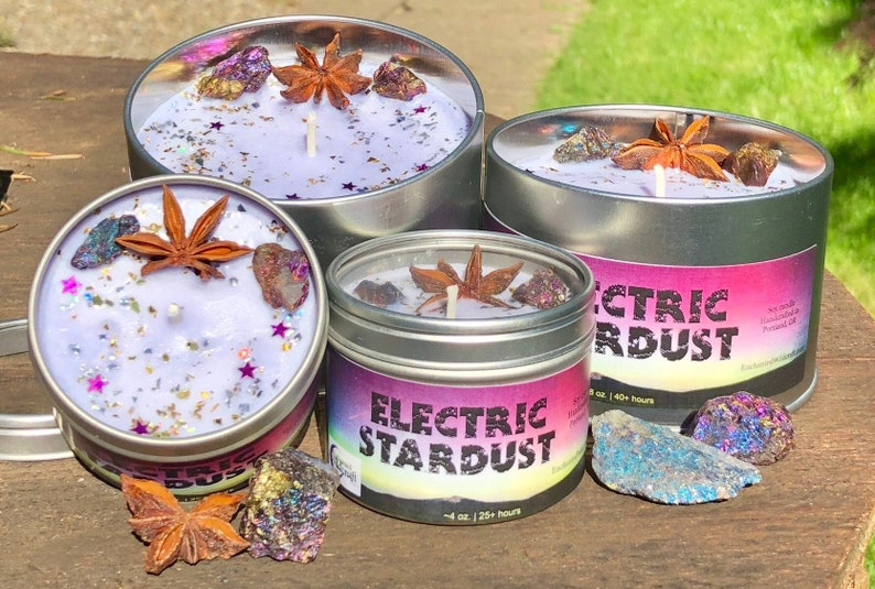 Witches Candle made with soy wax, essential oils, Peacock Chalcopyrite &  Star Anise Electric Stardust Spell Candle