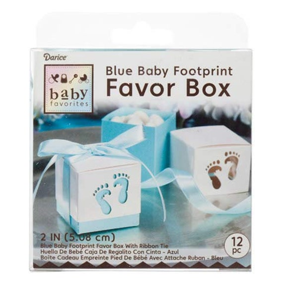 Set of 12 for Baby Shower Favor Boxes 12 Blue Baby Feet Favor Boxes