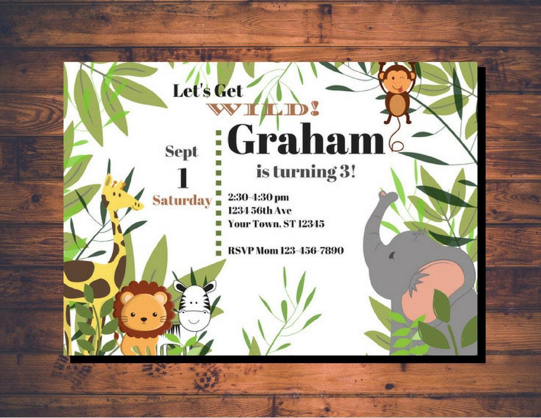 Jungle Birthday Party Invitation White Background | Etsy