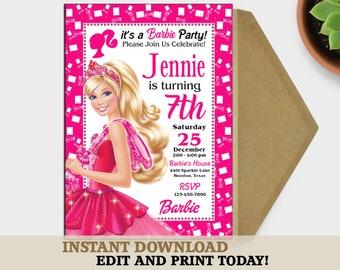 barbie invitations birthday etsy