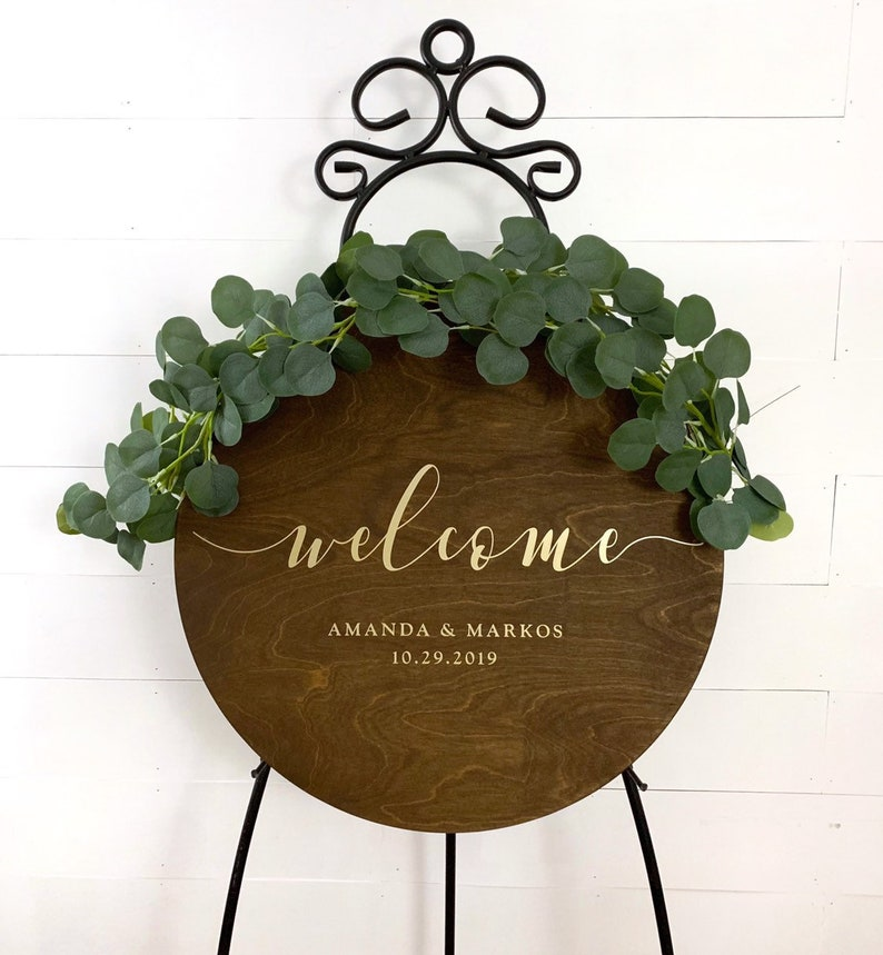 Round Wedding Welcome Sign  Custom Circle Wood Wedding Sign  image 0
