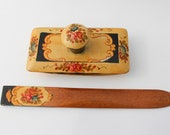 Antique Letter Opener and Ink Blotter - Wood with Floral Transfer - Signature Blotter and Correspondence - Desk Blotter and Page Opener