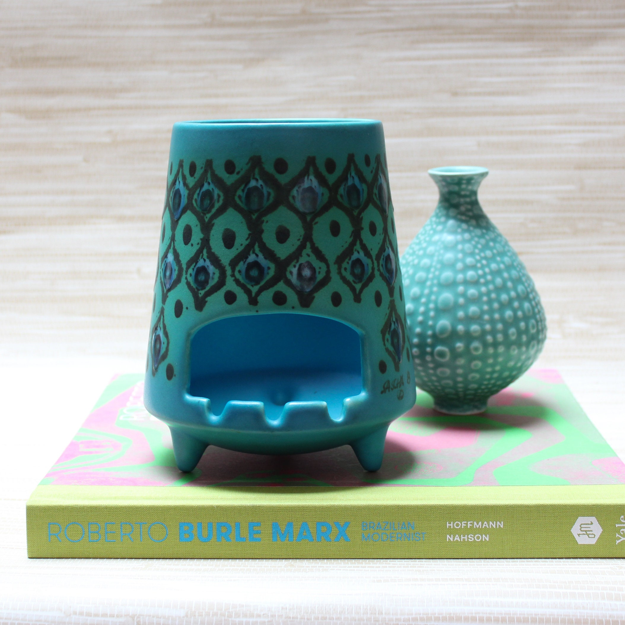 Turquoise footed ashtray