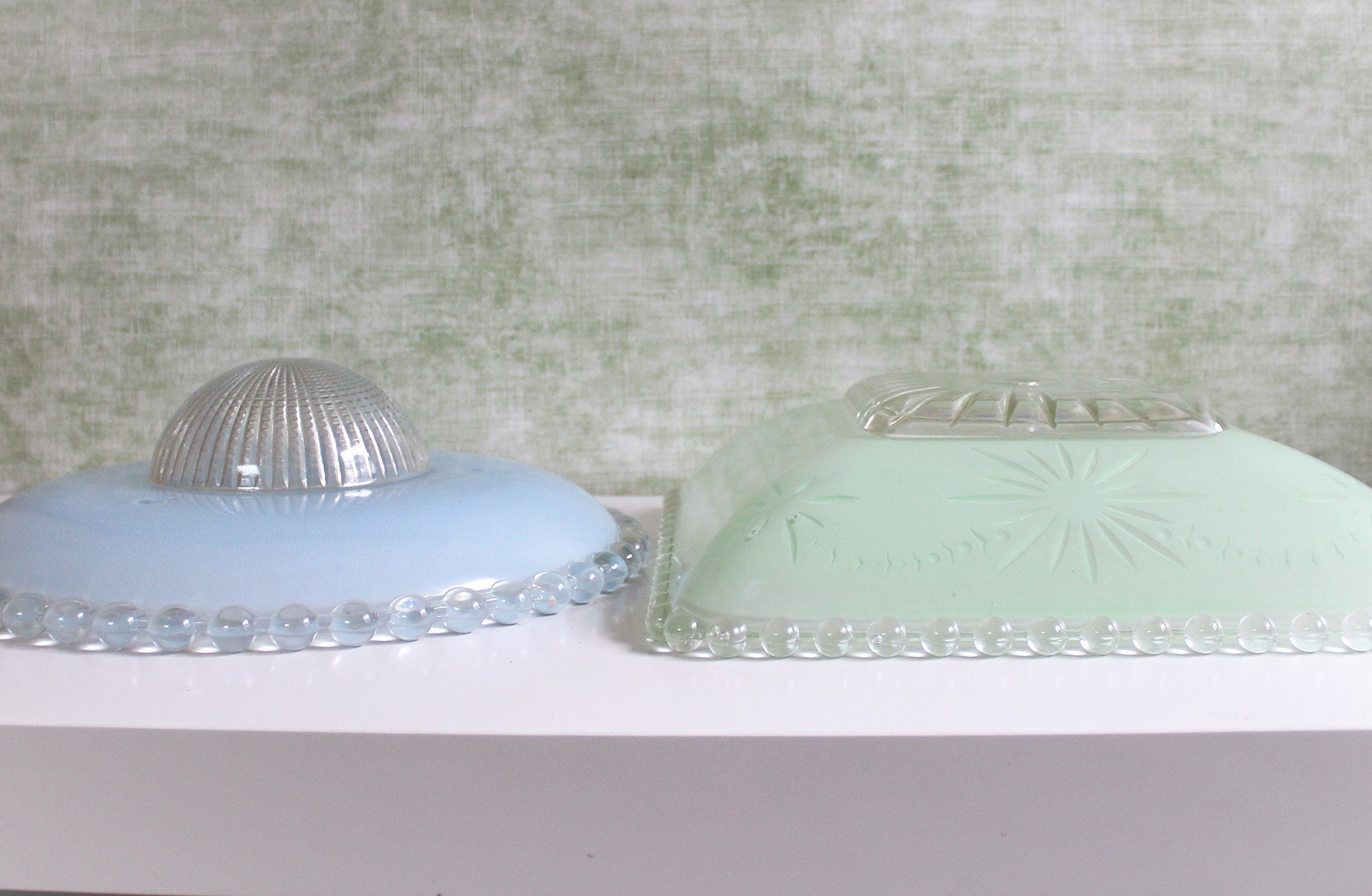 Vintage Decorative Glass Light Cover - Flushmount Clear