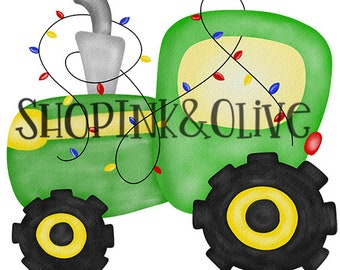 Watercolor PNG Christmas Green Tractor Digital Download Clipart