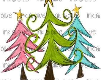 Watercolor PNG Christmas Whimsy Tree  Digital Download Clipart Vintage