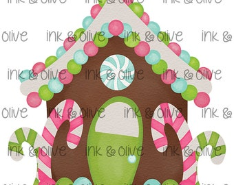 Watercolor PNG Christmas Gingerbread House Digital Download Clipart Vintage