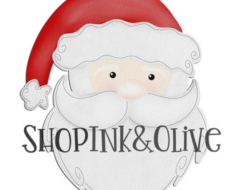 Watercolor PNG Christmas Santa Digital Download Clipart Vintage