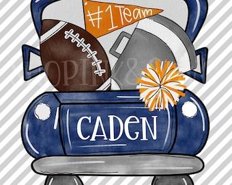 Watercolor PNG Football Truck Auburn Digital Download Clipart