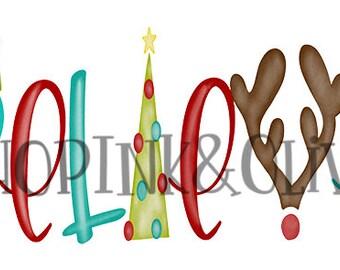 Watercolor PNG Christmas BELIEVE Word Art Digital Download Clipart Vintage