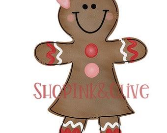 Watercolor PNG Christmas Gingerbread Girl Digital Download Clipart Vintage