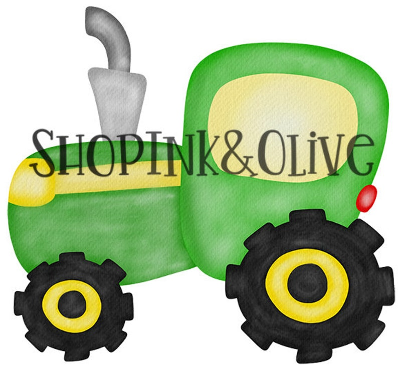 Watercolor Png Green Tractor Digital Download Clipart Etsy