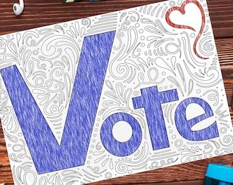 Vote Printable Coloring Page | Digital Download with Bonus Vote Postcards
