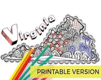 Virginia Printable Coloring Page | Virginia Map Print | Zendoodle Virginia | Instant Download | Virginia is for Lovers