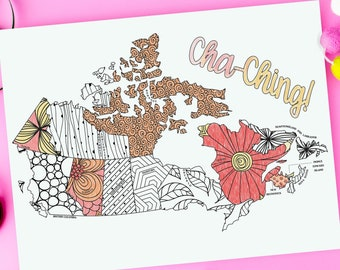 Canada Sales Tracker Printable Coloring Page | Map of Canada Coloring Page| Instant Download