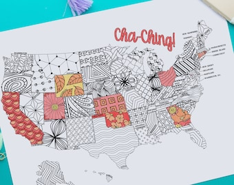 USA Map Sales Tracker Printable Coloring Page | Instant Download