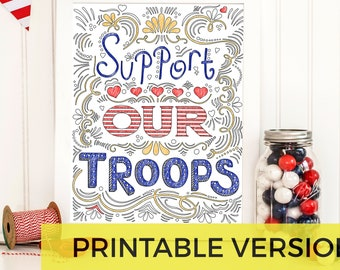 Support Our Troops Printable Coloring Page | Air Force | Army | Coast Guard | Marines | Navy | Deployment | Military Family | Army Wife