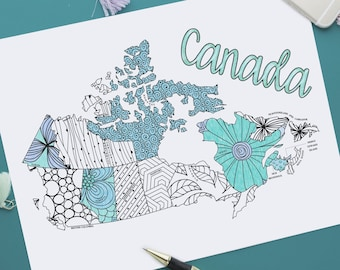 Canada Map Printable Coloring Page | Etsy Sales Tracker | Instant Download
