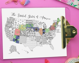 US Map Printable Coloring Page | Instant Download