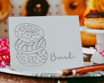Donut Custom Coloring Notecards with Envelopes, Blank Inside | Personalized Donut Coloring Cards