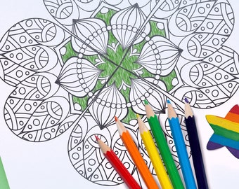 Four Leaf Clover Mandala Printable Coloring Page | Instant Download | St. Patrick's Day