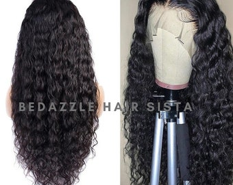 Water Wave Real Hair Wigs 13x6 Long Lace Front Wigs Can Give You a Natural Looking Long Black Hair Look With Bigger Parting Space