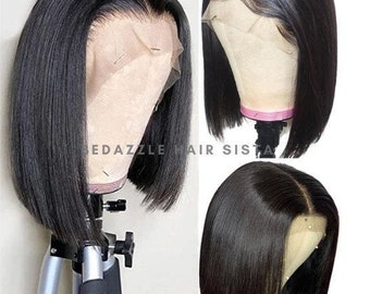 Brazilian Straight 13x4 Front Lace Human Hair Short Bob Wigs Virgin Straight Hair Lace Front Wigs. Great for women!