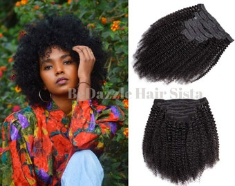 Afro Kinky Curl Clip Ins Extensions Virgin Human Curly Hair Natural Texture for black women