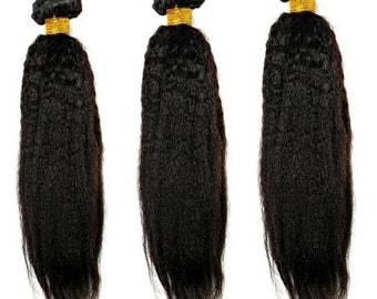 Natural Texture Hair Extensions, Yaki Kinky Straight Bundles, 100% Unprocessed High-Quality Virgin Remy Human Hair great for Black Women!